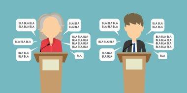 Two speakers debate.