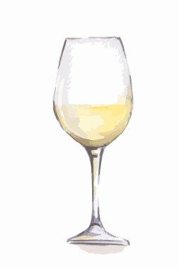 Watercolor white wine glass.
