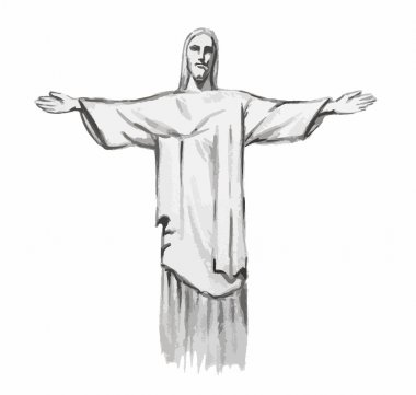Isolated watercolor Christ the redeemer.