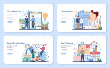 Tax consultant web banner or landing page set. Idea of accounting and payment. Financial bill examination. Tax optimization, planning and refund. Flat vector illustration icon
