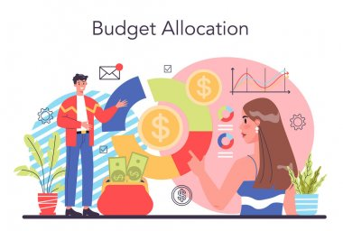 Budgeting concept. Idea of financial planning and well-being. Currency balance and income. Money allocation. Isolated flat illustration vector icon