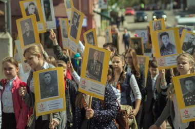 Immortal regiment  in Serpukhov, Russia on Victory Day the 9th of May.
