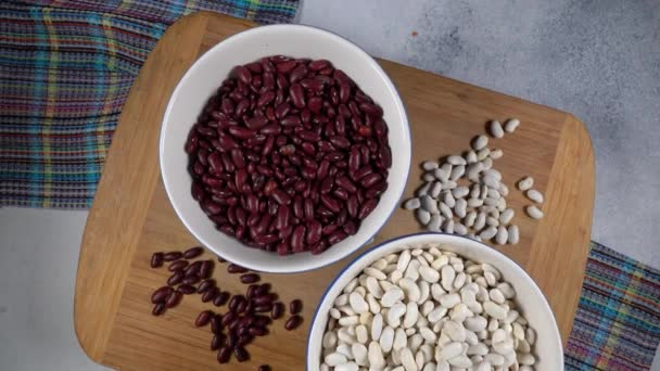 Red and white beans. High protein legumes,beans and lentils for vegetarians.Circular rotation on the table.