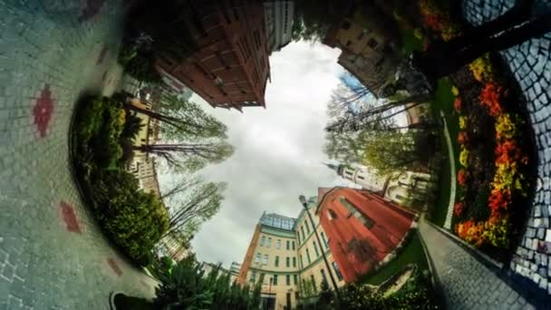 Walkers Crowd People on Paving Stones Video 360 vr Panoramic View of Square Opole Poland Flowers Trees Old City Square Flower Beds Vintage Buildings