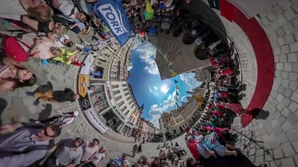360Vr Video Crowd Standing at Concert City Day Opole Vintage Square Flag Garlands Crowd Walking by Paving Stones Have a Rest Celebration in Sunny Day