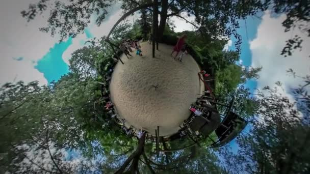 360Vr Video Kids Parents on Playground City Day Opole Park Children Are Playing Running Swing Climbing up the Stairs Sandy Ground Trees Sunny Summer Day