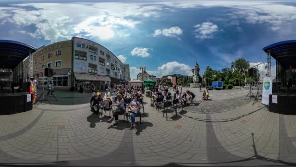 360Vr Video People Concert City Day Opole Square Stage Outdoors Kid With Balloon Families Are Watching Vintage Building Stores and Restaurants Celebration