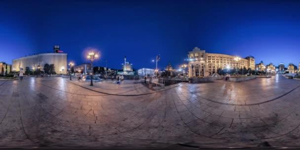 360vr Video. Náměstí nezávislosti v Kyjevě noc