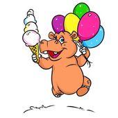 Hroch radost s balónky zmrzliny kreslený