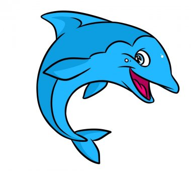 Funny blue dolphin cartoon illustration isolated image animal character stock vector