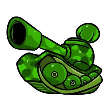 Tank military cartoon illustration parody stock vector