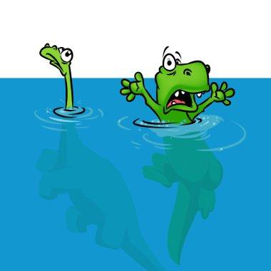Dinosaur extinction version flood cartoon