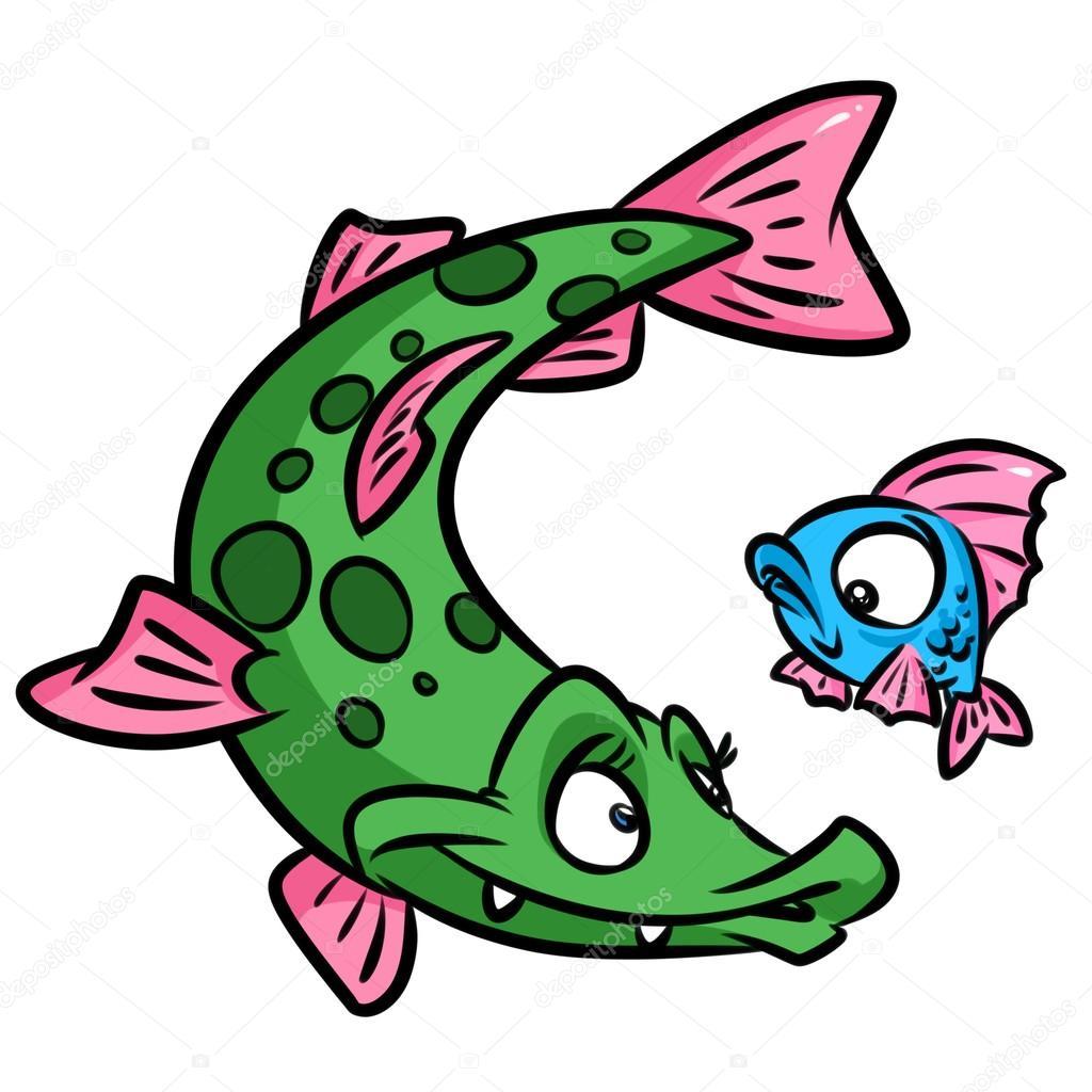 Pike fish cartoon — Stock Photo © Efengai #105556970