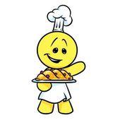 Veselý charakter kuchařka pečení kreslený