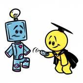 Veselý obličej postava robota vědec kreslený