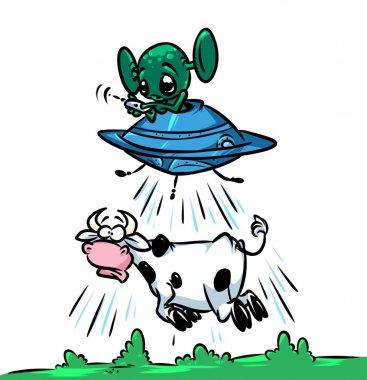 Flying Saucer UFO alien stealing amaze cows cartoon