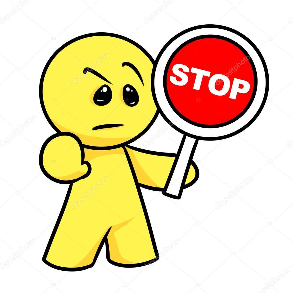 Dessin Panneau Attention smiley personnage attention panneau stop dessin animé — photographie