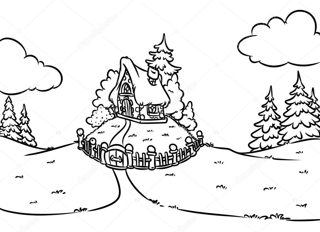 Coloring Page Fairy House Cartoon Illustration Photo By Efengai
