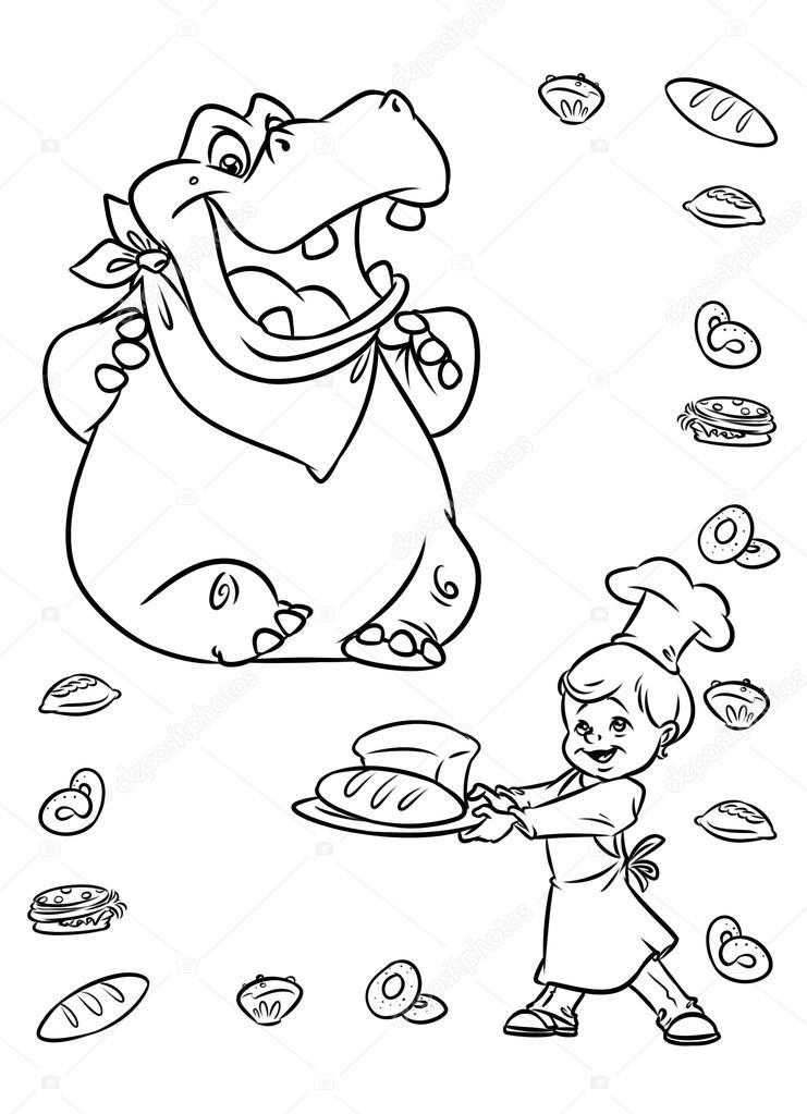 Su Aygırı Hayvanların Ekmek çocuk şef Yemek Stok Foto Efengai