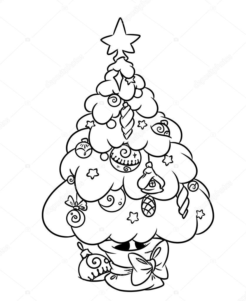 Kerstboom Pagina Tekenfilm Kleurplaten Stockfoto C Efengai 105872274