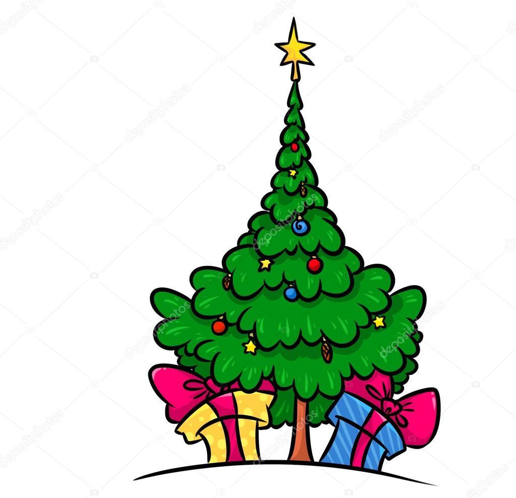 Weihnachtsbaum Geschenke cartoon — Stockfoto © Efengai #105872276