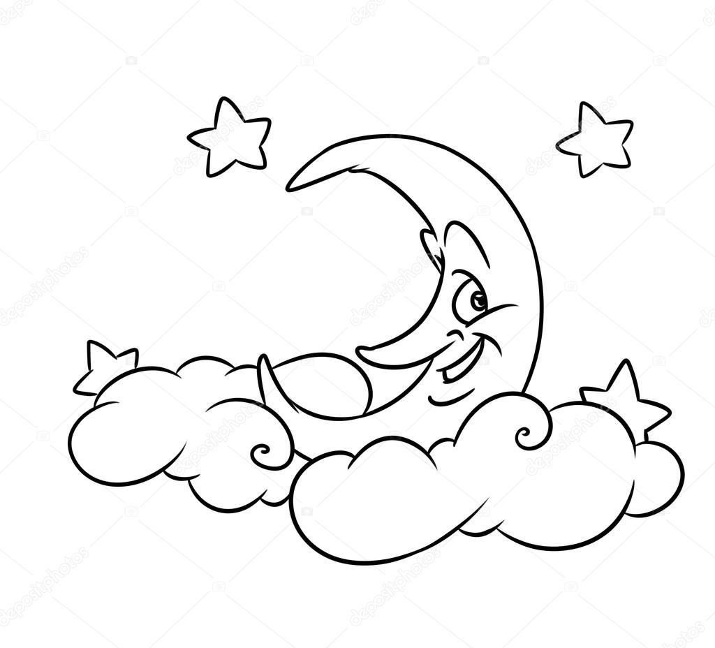 Neşeli Ay Yıldız Sayfa çizgi Film Boyama Bulutlar Stok Foto