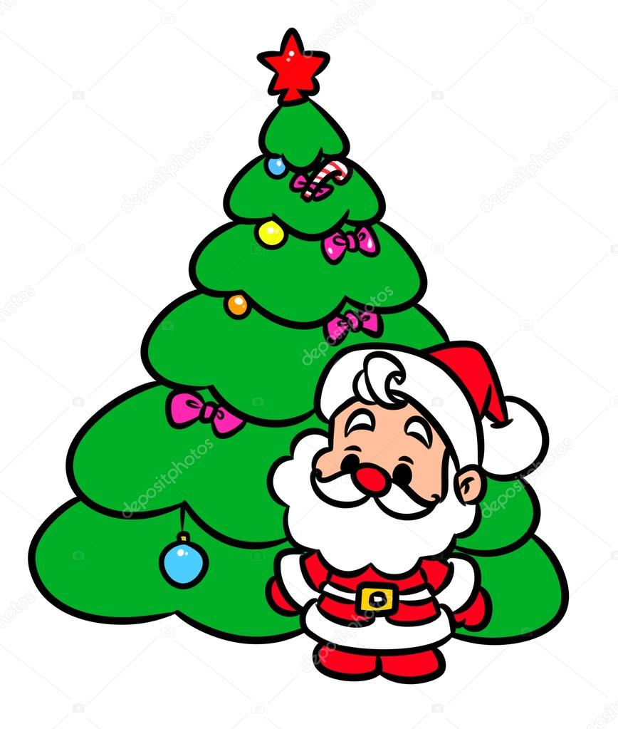 Christmas Tree Santa Claus Mini Cartoon Stock Photo C Efengai