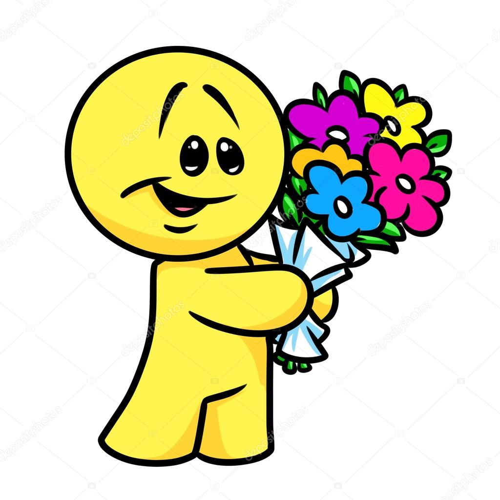 Smiley character bouquet flowers cartoon — Stock Photo © Efengai ...