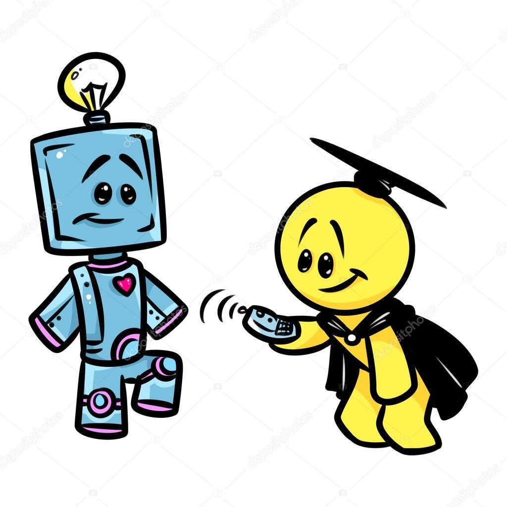 desenho de cientista sorridente personagem robô fotografias de