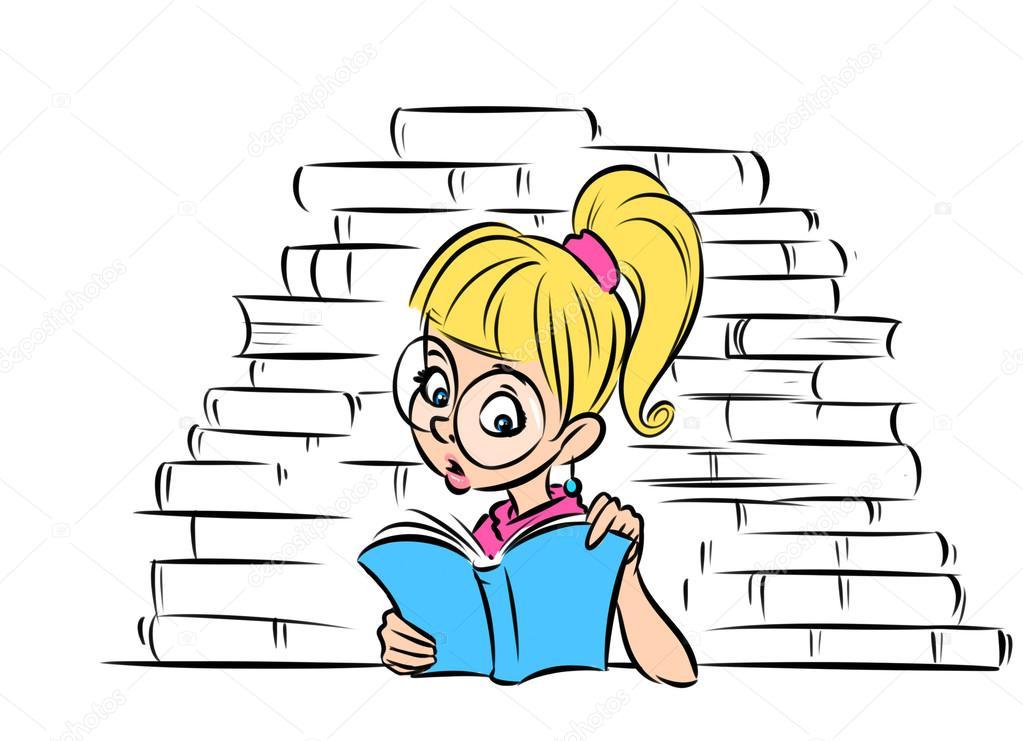 Estudiante leyendo para colorear   Maravilla de estudiante de chica ...