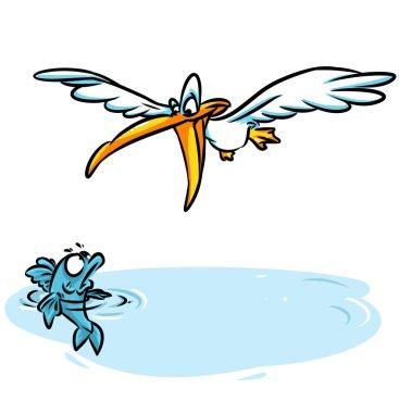 Pelican fishing fear fish cartoon