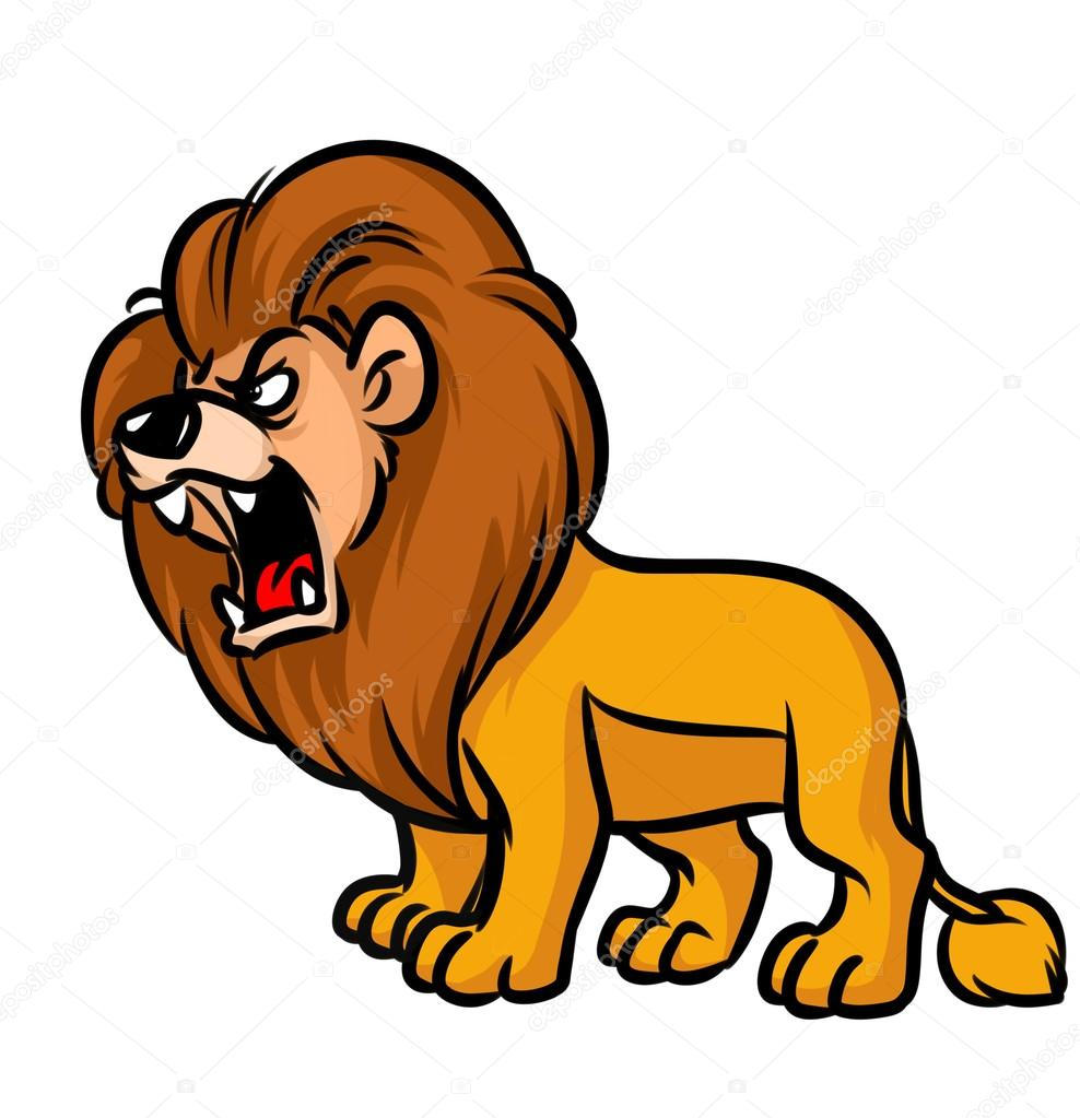 lion roar cartoon stock photo 106254696