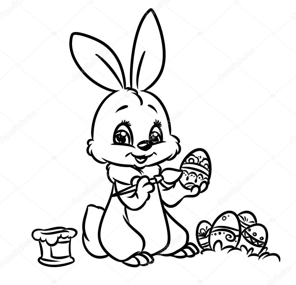 Pagina Da Colorare Di Pasqua Coniglietto Foto Stock Efengai