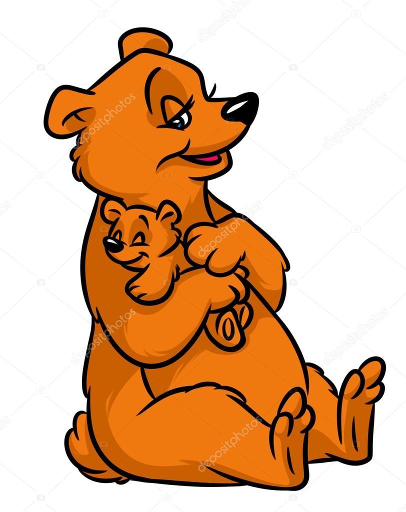 desenhos animados de pequeno urso de pelúcia de mãe urso pardo