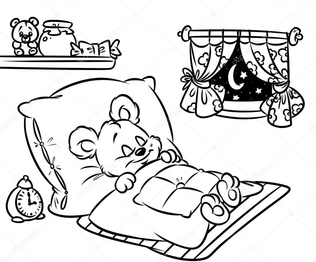 Uyuyan Küçük Ayı çizgi Film Boyama Sayfaları Stok Foto Efengai