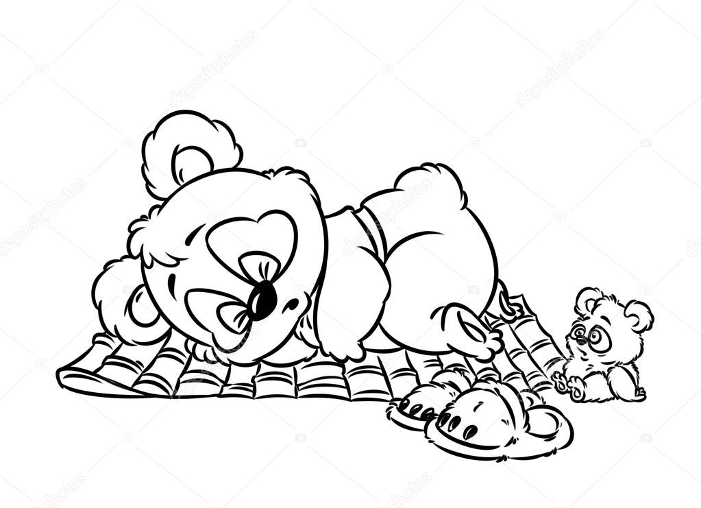 Animado: dormir dibujo para colorear | Panda poco dormir página para ...
