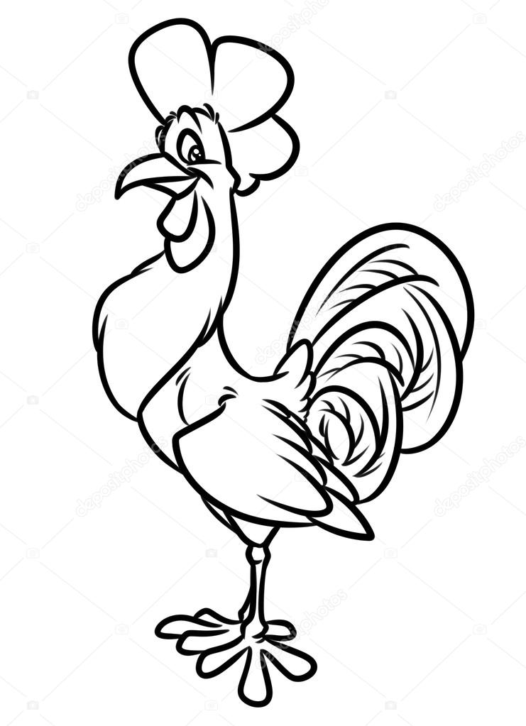 Rooster Coloring Page - Super Simple | 1023x741