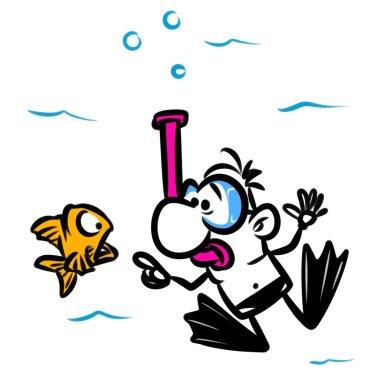 Diver sea swimming fish cartoon illustration stock vector