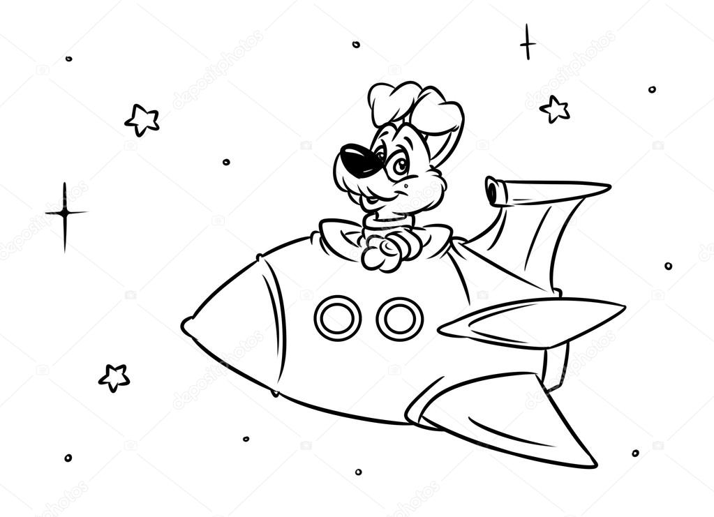 Köpek Roket Uçuş çizgi Film Stok Foto Efengai 112566380