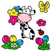 Kráva květina motýl prvky