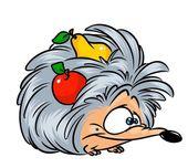 Ježek ovoce jablko hruška kreslený