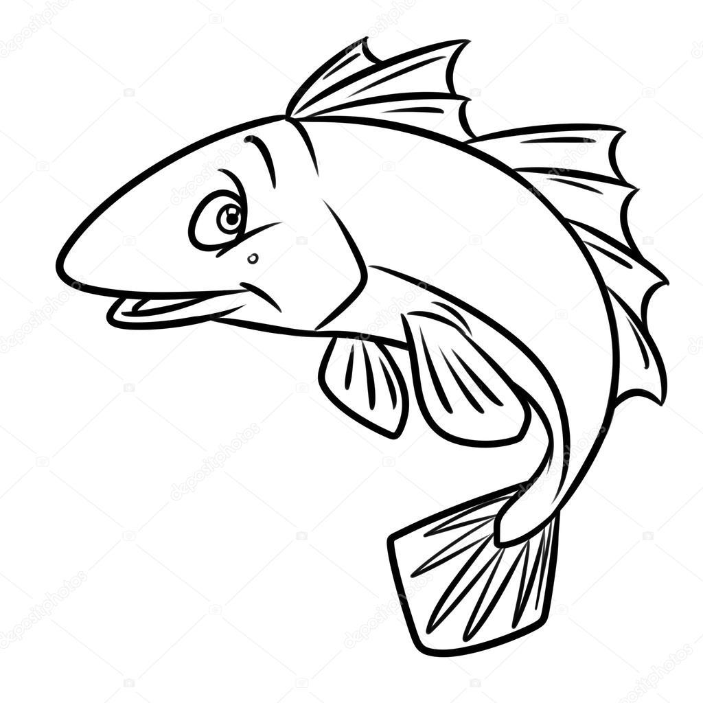 Fische Malvorlagen cartoon — Stockfoto © Efengai #114228458