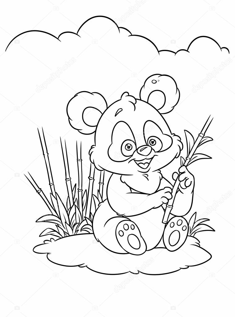 Bamboo Panda Coloring Pages Stock Photo C Efengai 123769746