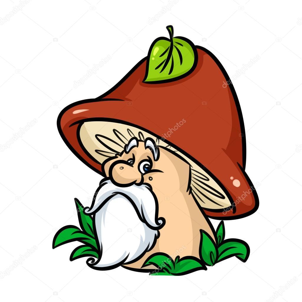 Mushroom fairy tale character old cartoon