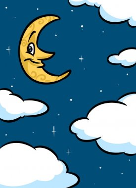 Night clouds month cartoon
