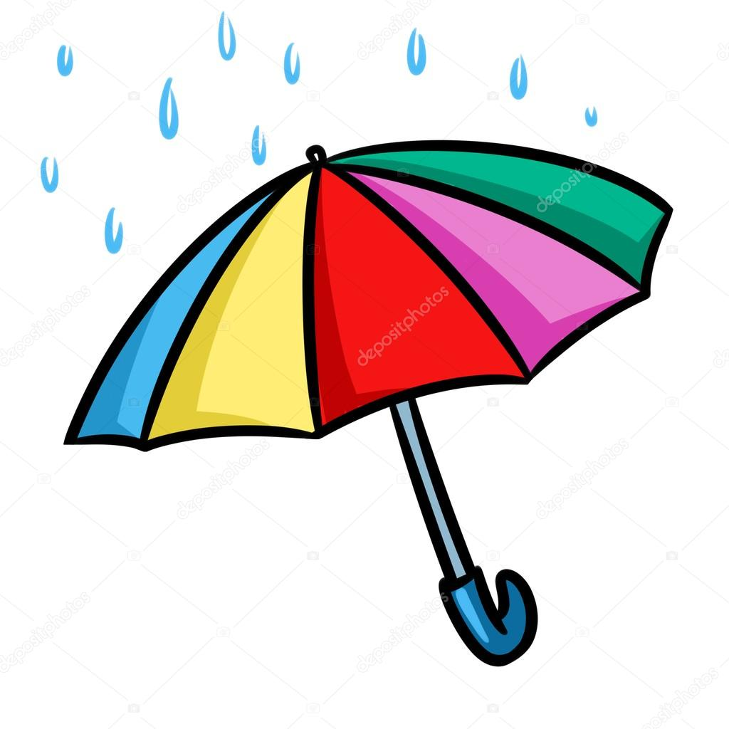 Regenschirm Regen cartoon — Stockfoto © Efengai #124620158