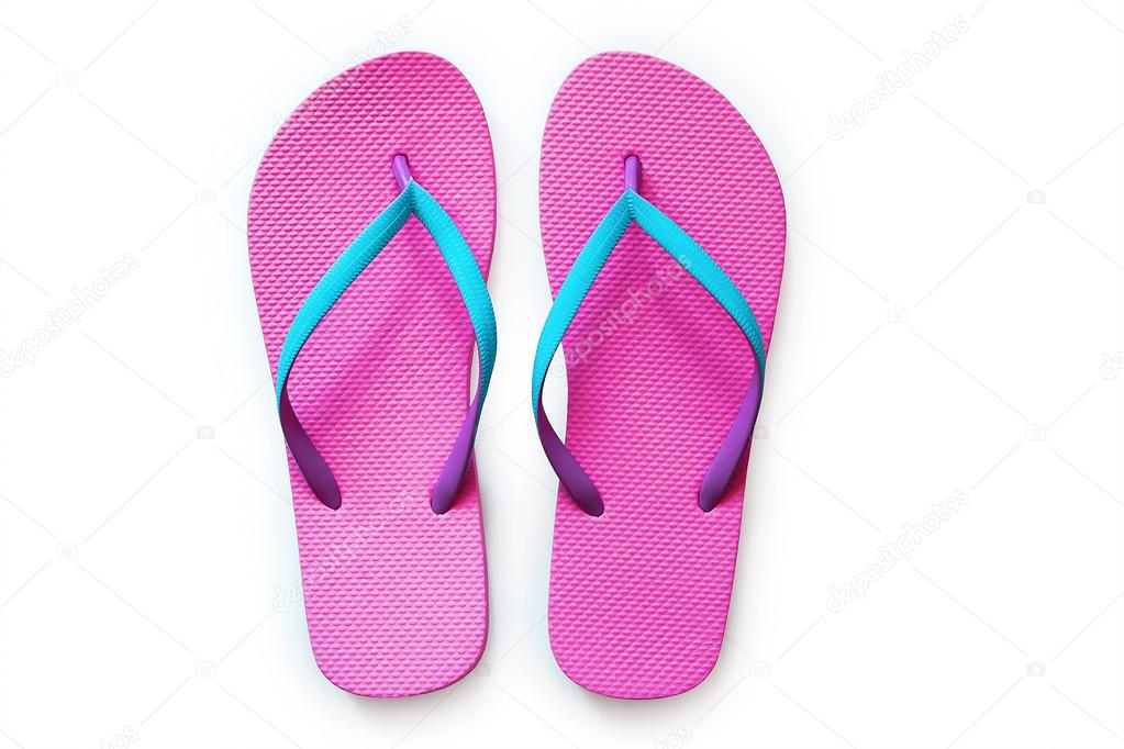 ee8a0827df9d Pink flip flops isolated on white background. Top view — Photo by ...
