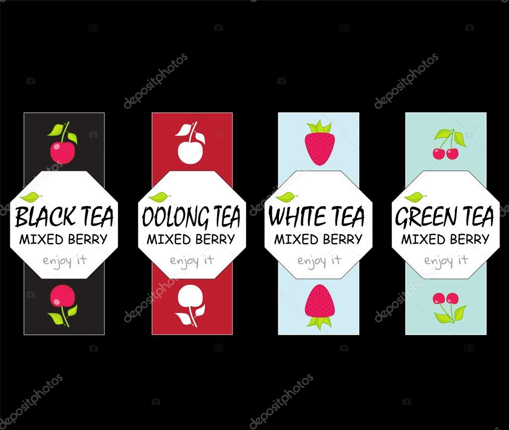 set of vector design elements for tea packages label tag stickers