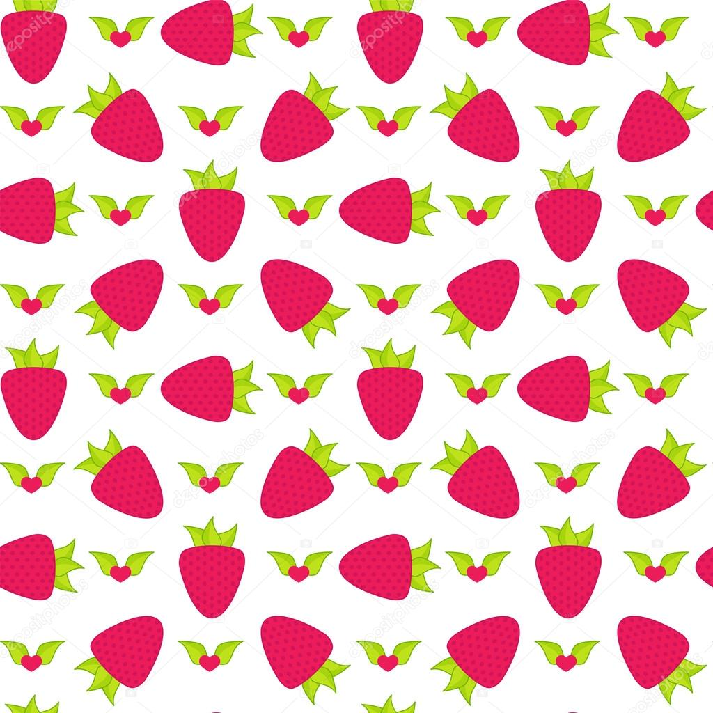Seamless Vector Pattern Cute Abstract Strawberry With Leaves In Flat Style Cartoon Element For Design Wallpaper Background Texture Textile