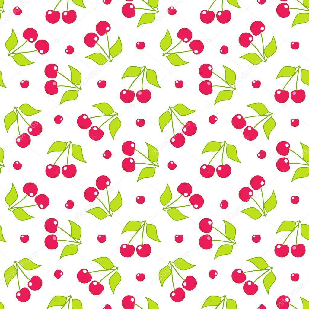 Seamless vector pattern cute abstract cherry with branch and leaves cute abstract cherry with branch and leaves in flat style cartoon element for design wallpaper background texture textile simple kawaii minimalistic voltagebd Images